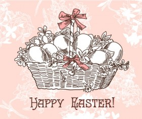 Hand painted Easter Pattern free vector 02