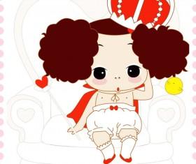free Cute cartoon Doll vector 01