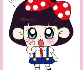 free Cute cartoon Doll vector 02