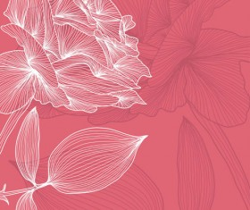 Lines of flowers background free vector 03