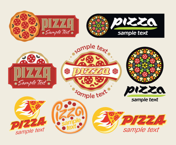 Cartoon pizza design free vector 01