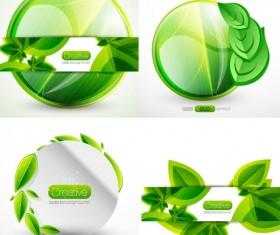 free vector  Green leaf label
