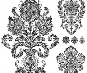 Black and white Decorative pattern free vector 02
