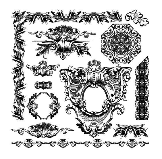 Black and white Decorative pattern Borders vector 01