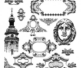 Black and white Decorative pattern Borders vector 03