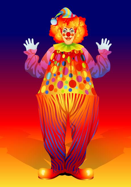 free vector cute clown Illustration 02