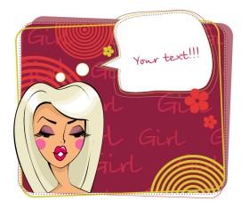 Make-up girl cartoon Illustration free vector 01
