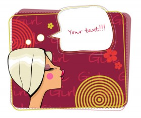 Make-up girl cartoon Illustration free vector 02