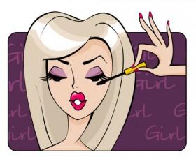 Make-up girl cartoon Illustration free vector 04