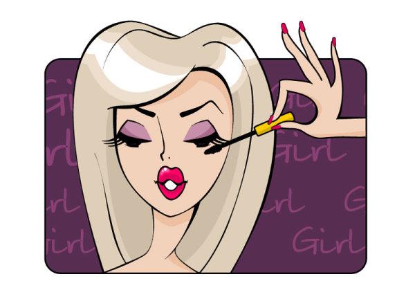 Make up girl cartoon Illustration free vector 04