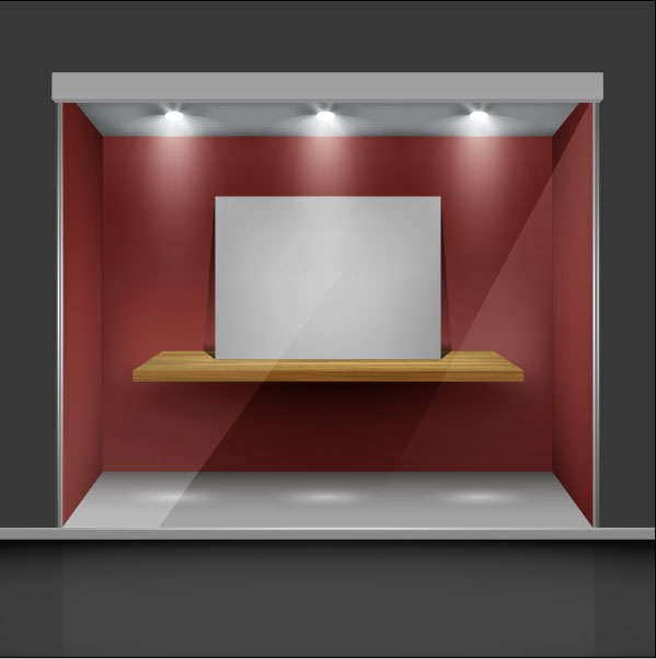 Exhibition Stall Vector Free Download : Exhibition booth window free vector download