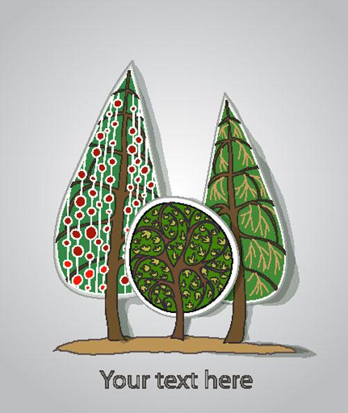 free Cartoon Trees Label vector 01