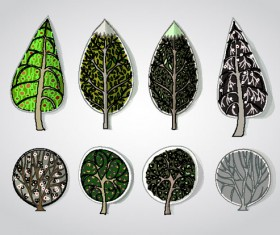 free Cartoon Trees Label vector 02