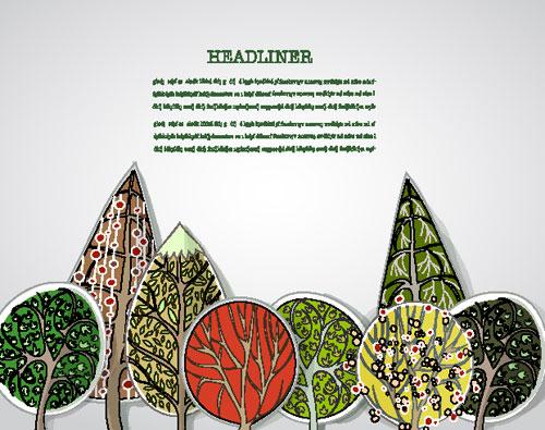 free Cartoon Trees Label vector 04