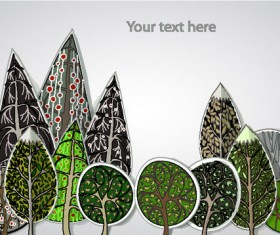 free Cartoon Trees Label vector 05