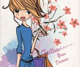 Fashion shop Girl vector 01