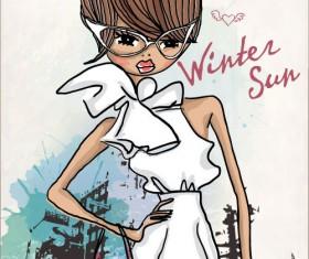 Fashion shop Girl vector 02