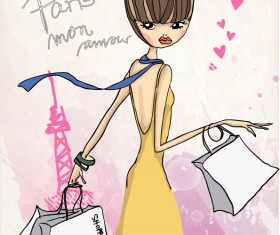 Fashion shop Girl vector 04
