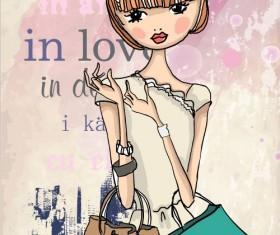 Fashion shop Girl vector 05