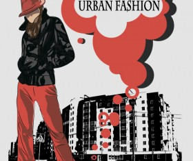 Fashion People Illustration free vector 01