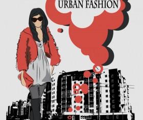 Fashion People Illustration free vector 04