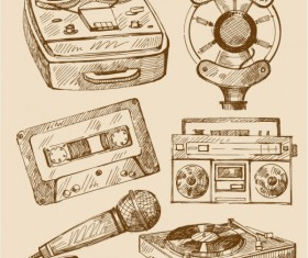 free vector vintage Recorder, Microphone