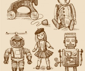 free vector vintage Children's toys 01