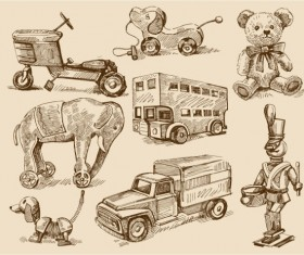 free vector vintage Children's toys 02