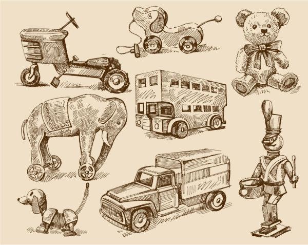 free vector vintage Childrens toys 02