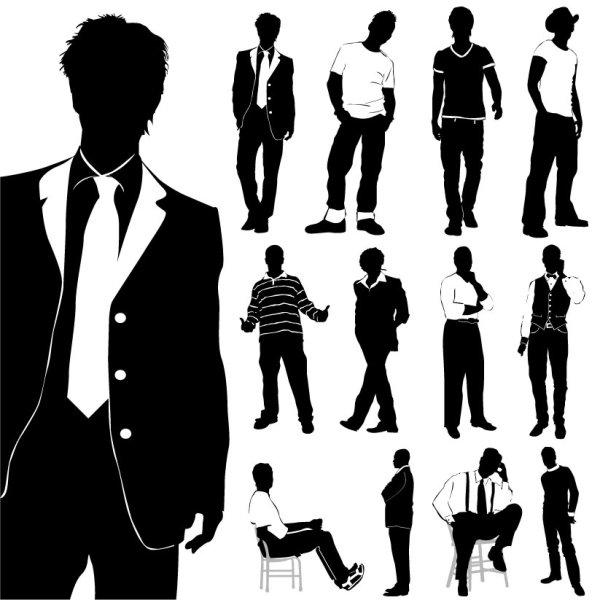fashion men silhouettes vector free download rh freedesignfile com man silhouette vector man silhouette vector