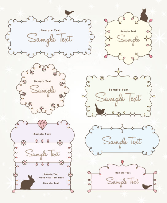 free vector cartoon Cute  Borders 03