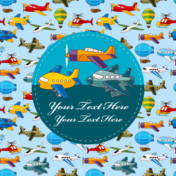 Cartoon Aircraft, Helicopter and Airship free vector