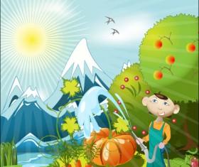 Cartoon Orchard 02 vector