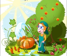 Cartoon Orchard 02 vector
