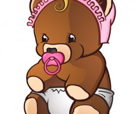 Cute Cartoon Teddy bear vector 02