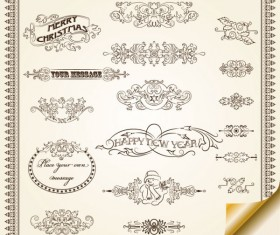 Retro Lacy Borders Set vector 02