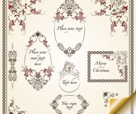 Retro Lacy Borders Set vector 04