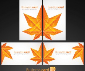 Leaves Business card vector 02