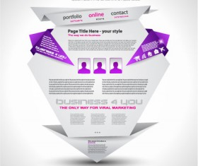Origami website Style Design vector 01