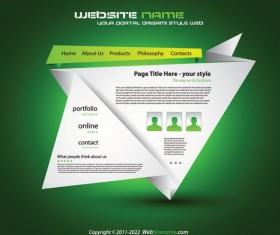 Origami website Style Design vector 03