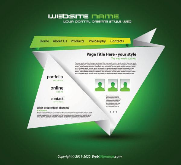 Origami website Style Design vector 03. Origami website Style Design vector 03   Vector Web design free