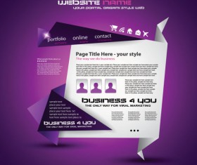 Origami website Style Design vector 04