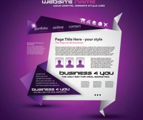 Origami website Style Design vector 04