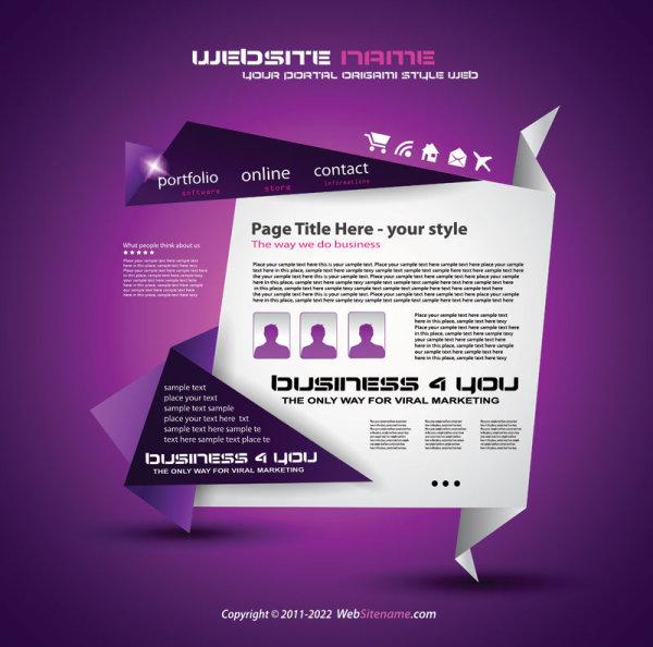 Origami website Style Design vector 04. Origami website Style Design vector 04   Vector Web design free