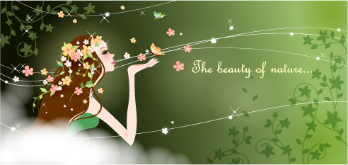 cartoon beauty vector background 04