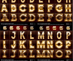Gold color Letter & Digital vector 01