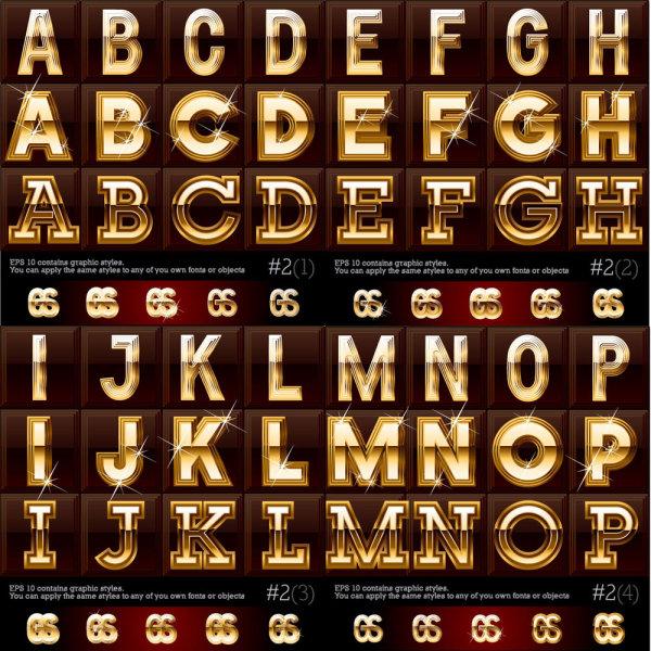 Gold color Letter & Digital vector 01 free download