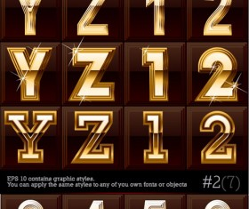 Gold color Letter & Digital vector 02