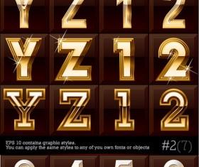 Gold color Letter & Digital vector 02