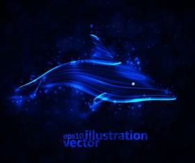 Transparent Dolphin vector Illustration 01